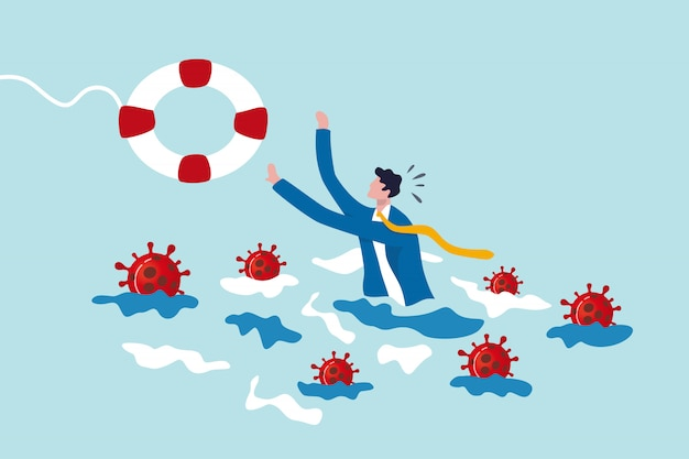 Homme d'affaires essayez de tenir une bouée de sauvetage avec un virus autour. aide en cas de crise de coronavirus, épidémie de covid-19,