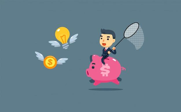 Un homme d'affaires est à la recherche d'argent et d'une idée alors qu'il chevauche un cochon