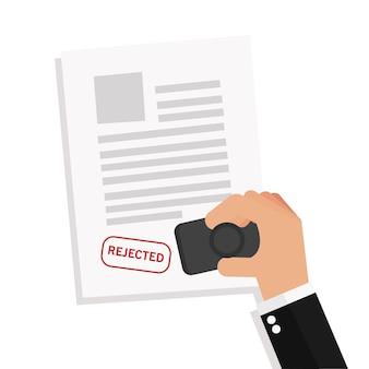 Homme d'affaires estampage notaire a rejeté un documents