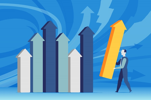 Un homme d'affaires établit les statistiques de ventes