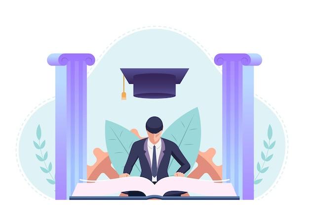 Homme d'affaires étudiant et lisant un livre avec un chapeau de graduation. concept d'éducation et d'entreprise