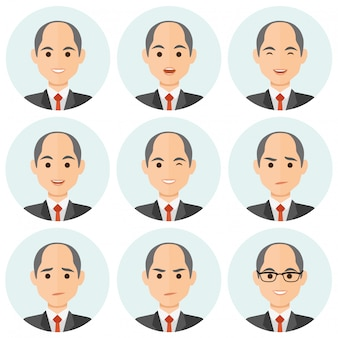 Homme d'affaires expression avatar