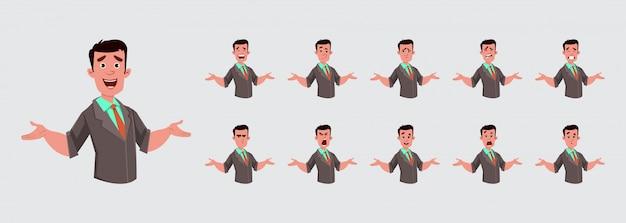 Homme d'affaires avec une expression faciale ou une émotion différente pour votre design, votre mouvement ou votre animation.
