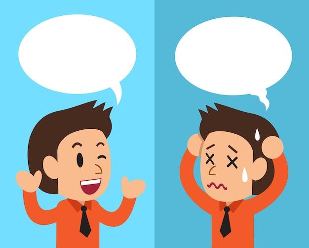 Homme d'affaires exprimant des émotions différentes