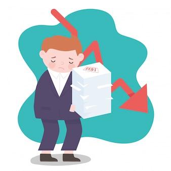 Homme d'affaires de faillite flèche vers le bas et dette empilée crise financière d'entreprise