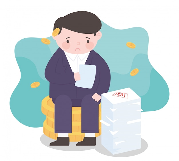 Homme d'affaires de faillite sur les pièces de monnaie argent processus d'affaires crise financière