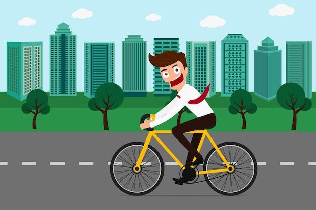 Homme affaires, faire du vélo, dans, ville verte