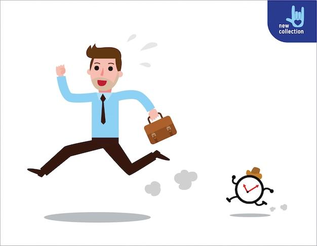 Homme d'affaires faisant la course contre la montre.