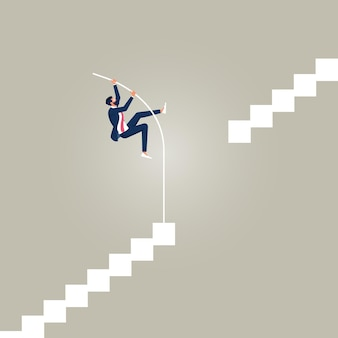 Homme d'affaires faisant du saut à la perche pour réussir avancer malgré les barrières ou les limites