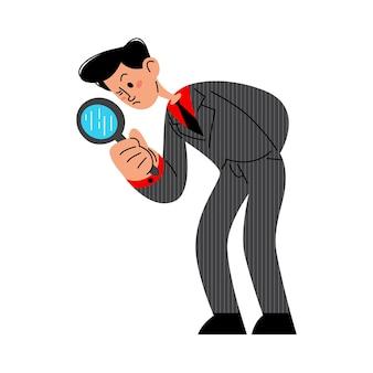 Homme d'affaires faisant des recherches à l'aide d'une loupe illustration vectorielle plane