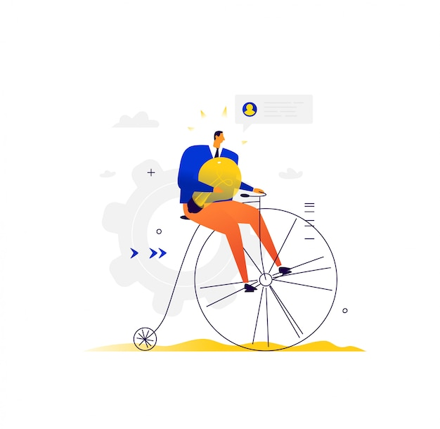 Homme d'affaires fait du vélo. un homme sur un vélo rétro avec une lampe électrique roule pour affaires.