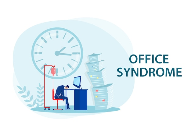Homme d'affaires fatigué au bureau avec syndrome de bureau