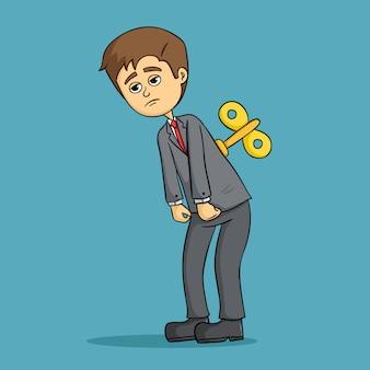 Homme d'affaires fatigué travaille dur comme sur des roulettes