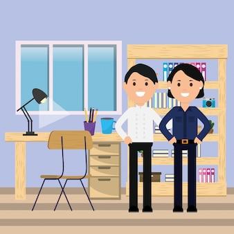 Homme d'affaires et femme d'affaires bureau espace de travail lampe de bureau chaise étagère illustration