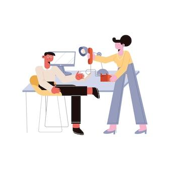Homme d'affaires et femme d'affaires avec bureau sur fond blanc