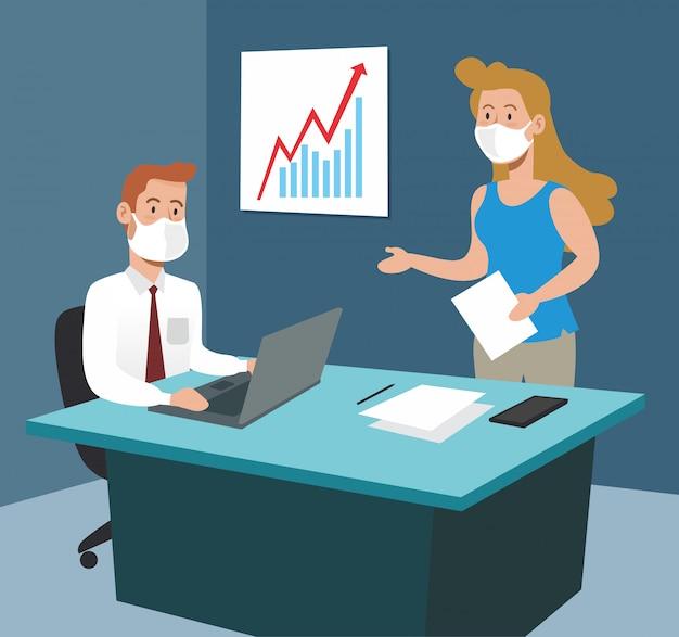 Homme affaires, femme affaires, bureau, ordinateur portable, stratégie