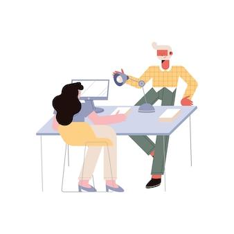 Homme d'affaires et femme d'affaires sur chaise avec bureau sur fond blanc