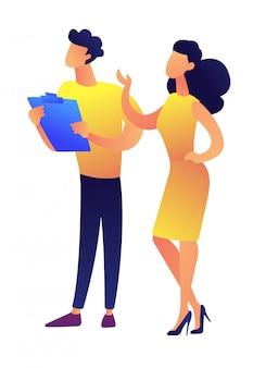 Homme d'affaires et femme d'affaires donnant l'illustration vectorielle de présentation.