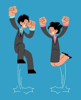 Homme d'affaires et femme d'affaires faisant un saut heureux objectif de réussite et objectif atteint concept vectoriel