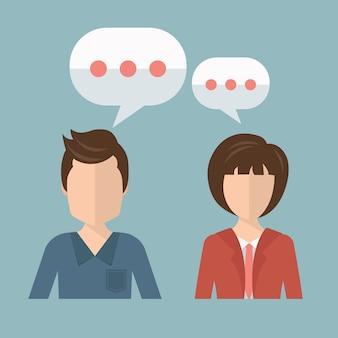 Homme d'affaires et femme d'affaires parlant