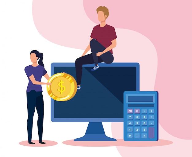Homme d'affaires et femme d'affaires avec la technologie informatique et la calculatrice