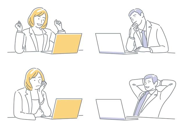 Homme d'affaires et femme d'affaires travaillant sur leurs ordinateurs portables exprimant différentes émotions