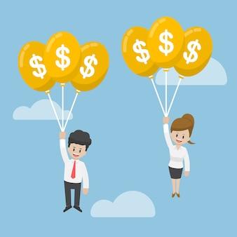 Homme affaires, et, femme affaires, voler, à, dollar, ballon