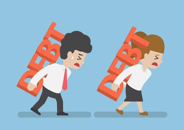 Homme affaires, et, femme, dette, sur, les, dos, dette, concept