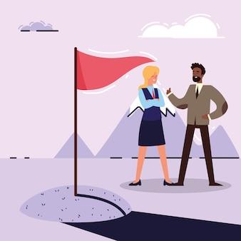Homme d'affaires et femme avec drapeau