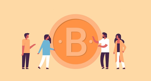 Homme affaires, femme, extraction, bitcoin, crypto, monnaie, concept, plat, horizontal