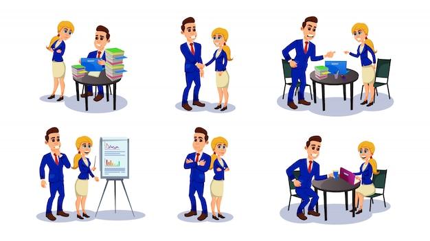 Homme d'affaires et femme travaillant ensemble au bureau.