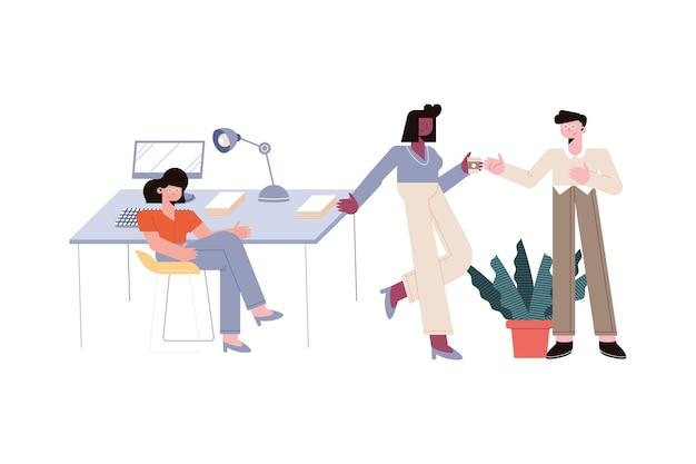 Homme d'affaires et femmes d'affaires au bureau sur fond blanc