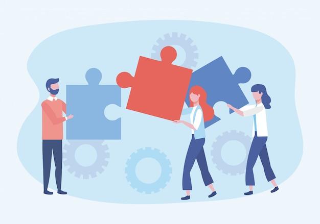 Homme d'affaires et femmes d'affaires avec connexion puzzles et engrenages