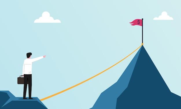 Homme d'affaires fixant l'objectif pour l'illustration du succès.