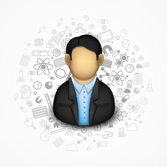 Homme d'affaires sur le fond de nombreuses icônes. illustration vectorielle