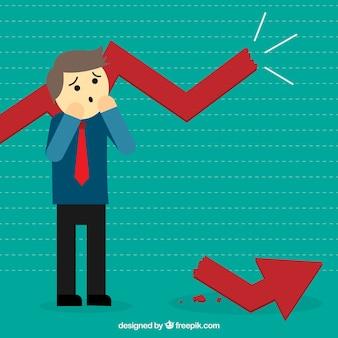 Homme d'affaires avec une fracture statistiques