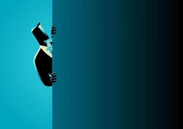 Homme affaires, furtivement, derrière, mur