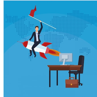 Homme affaires, fusée, drapeau, bureau, bureau, ordinateur, succès, démarrage, affaires