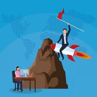 Homme affaires, fusée, drapeau, femme affaires, fonctionnement, ordinateur
