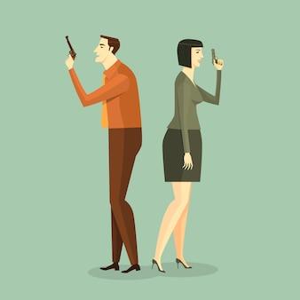 Homme d'affaires à la fusillade. illustration business concept corporate de défi.