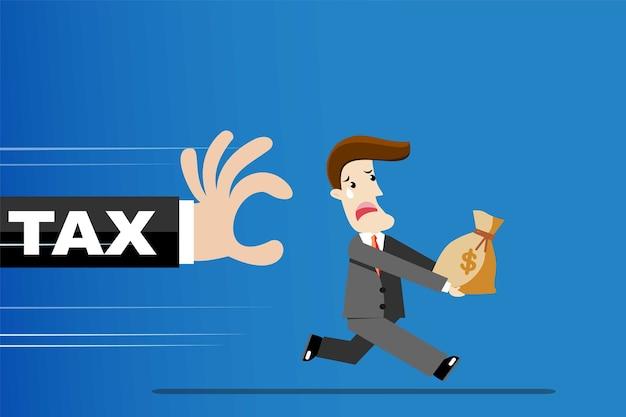 Homme d'affaires fuyant l'impôt. pour le concept de taxe