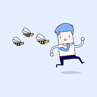 Homme d'affaires fuyant les insectes dangereux. vecteur de style de ligne mince de personnage de dessin animé.