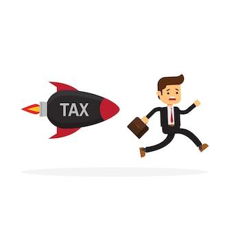 Homme d'affaires fuyant la taxe à la roquette