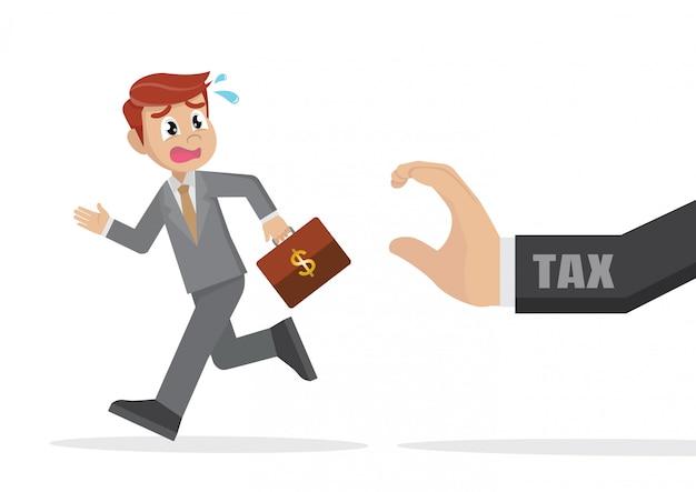 Homme d'affaires fuyant la taxe.