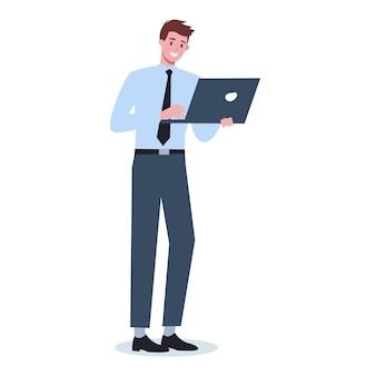 Homme d'affaires avec gadget. costume de personnage masculin tenant un ordinateur portable.