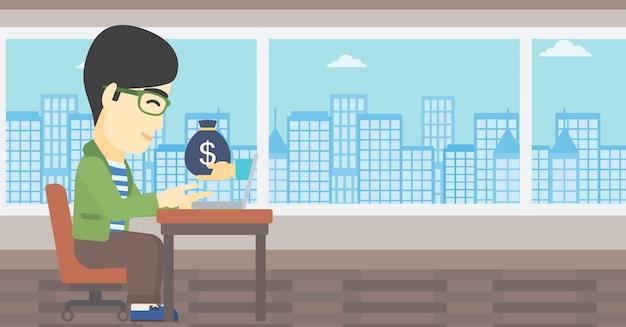 Homme d'affaires, gagner de l'argent d'une entreprise en ligne.
