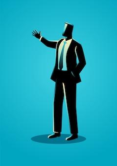 Homme affaires, gesticulant, à, main