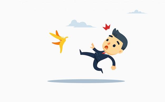 Un homme d'affaires glisse sur une peau de banane. illustration vectorielle