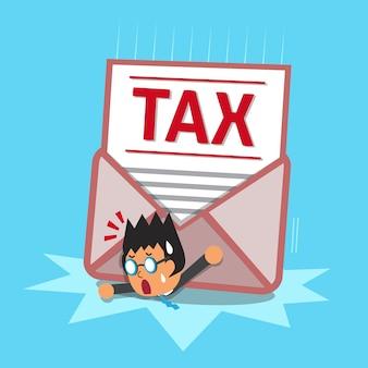 Homme d'affaires et grande lettre d'impôt