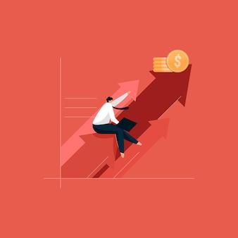 Homme d'affaires avec graphique de croissance et progrès de l'entreprise